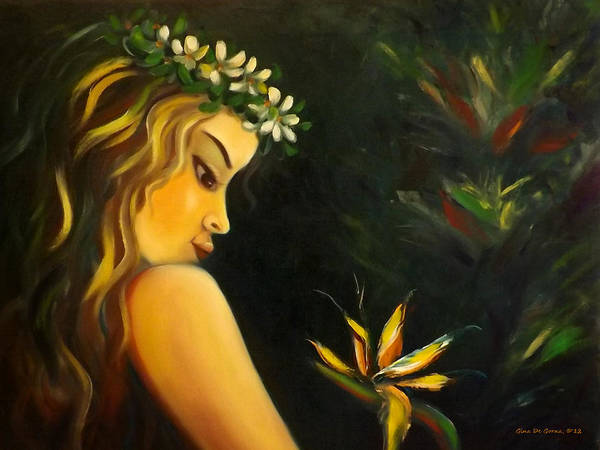 Nude Poster featuring the painting Flowers Of Paradise by Gina De Gorna