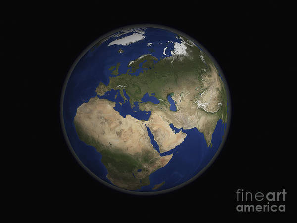 World Poster featuring the photograph Full Earth View Showing Africa, Europe by Stocktrek Images