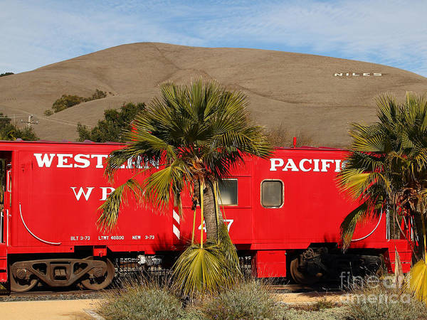 Transportation Poster featuring the photograph Historic Niles District In California Near Fremont . Western Pacific Caboose Train . 7d10718 by Wingsdomain Art and Photography