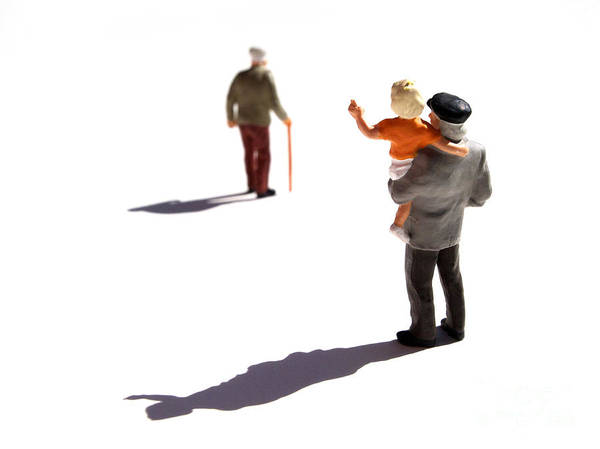 Watching Poster featuring the photograph Illustration Of Elderlys by Bernard Jaubert