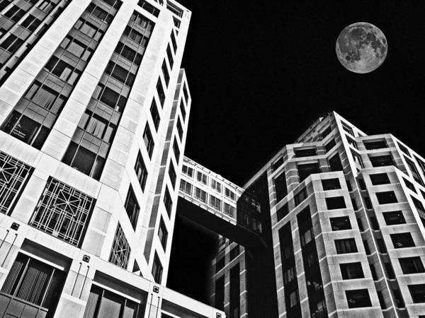 Moon Poster featuring the photograph Moon Over Twin Towers 2 by Samuel Sheats