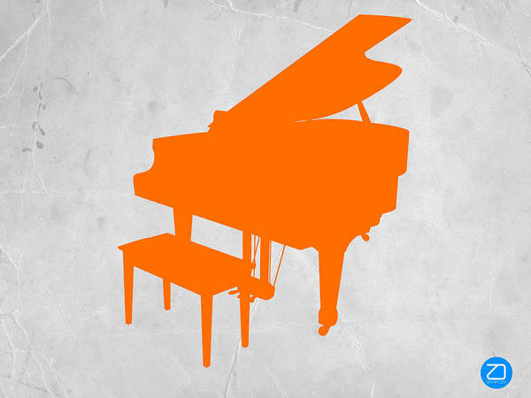 Piano Poster featuring the photograph Orange Piano by Naxart Studio