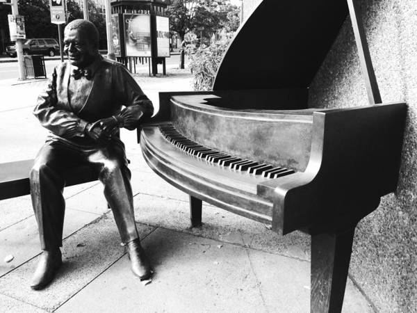 Stairs Poster featuring the sculpture Piano Man by Kevin Gilchrist