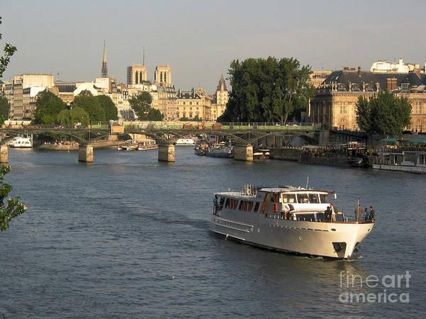 Aged Poster featuring the photograph River Seine In Paris by Bernard Jaubert