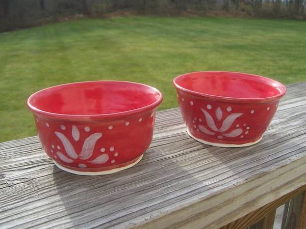 Bowl Poster featuring the ceramic art Set Of Small Red Bowls by Monika Hood