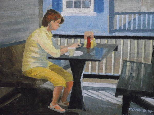 Alfresco Dining Poster featuring the painting Texting At Breakfast by Robert Rohrich