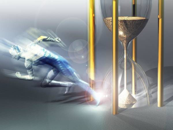 Computer Graphic Poster featuring the photograph Time Travel, Conceptual Artwork by Laguna Design