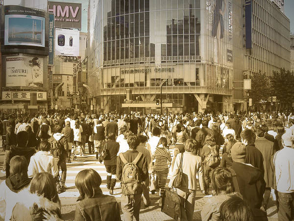 Tokyo Poster featuring the photograph Tokyo Intersection by Naxart Studio