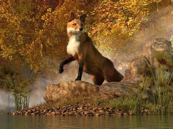 Fox Poster featuring the digital art Vixen By The River by Daniel Eskridge