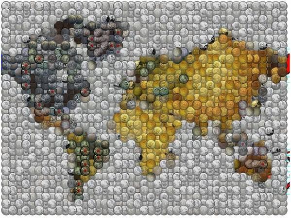 Coins Poster featuring the digital art World Map Coin Mosaic by Paul Van Scott