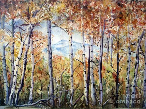 Tetons Poster featuring the painting Tetons In Autumn by Patricia Pushaw