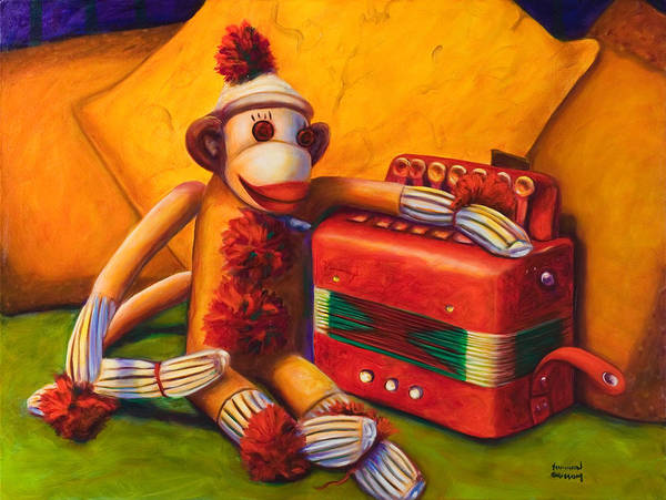 Children Poster featuring the painting Accordion by Shannon Grissom