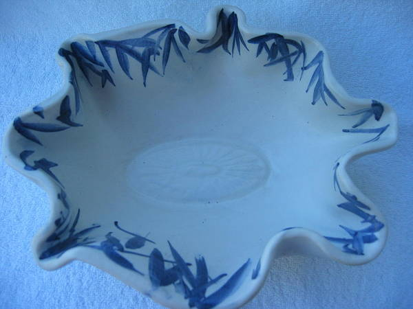 Bowl Poster featuring the ceramic art Blue Bamboo Bowl by Julia Van Dine