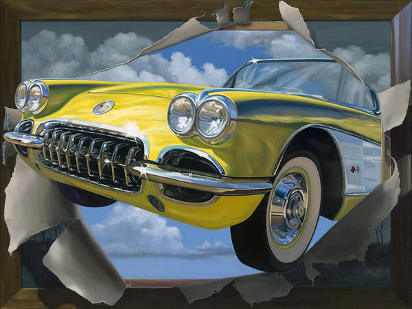 Corvette Poster featuring the painting Breakout by Lucretia Torva