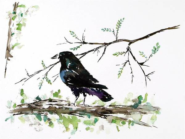 Crows Poster featuring the painting Crow On Branch by Carolyn Doe