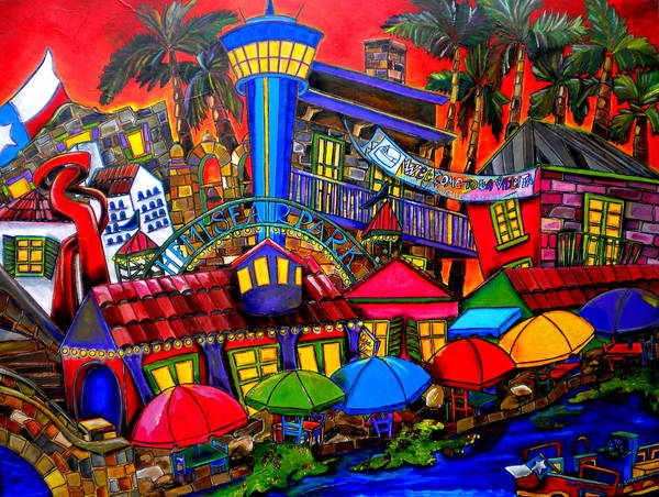 San Antonio Poster featuring the painting Downtown Attractions by Patti Schermerhorn