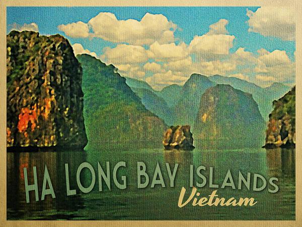 Ha Long Bay Poster featuring the digital art Ha Long Bay Islands Vietnam by Flo Karp
