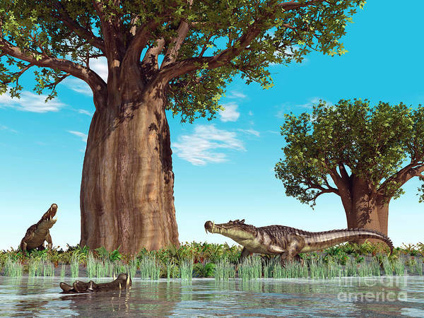 Earth Poster featuring the digital art Kaprosuchus Crocodyliforms by Walter Myers