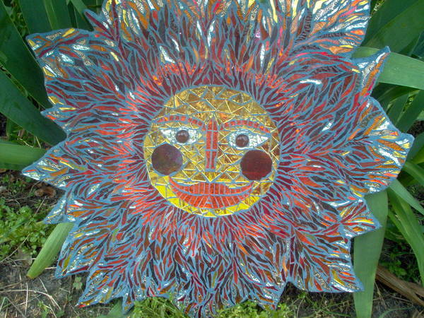 Mosaic Poster featuring the glass art Le Soleil by Kimberly Barrow