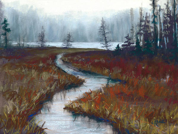 Misty Painting Poster featuring the pastel Misty Maine by Christine Camp