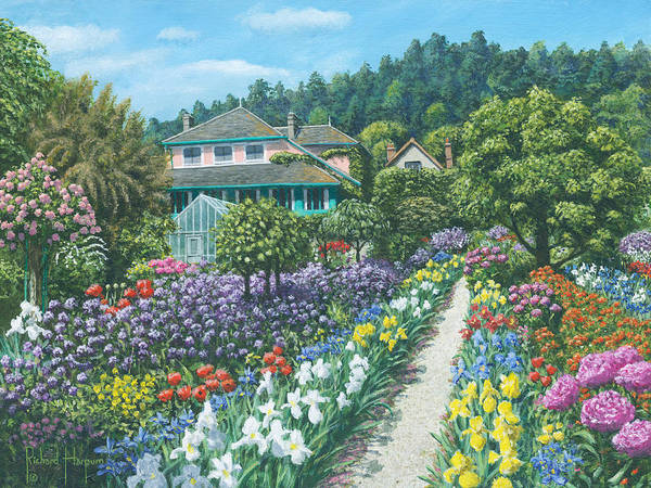 Landscape Poster featuring the painting Monet's Garden Giverny by Richard Harpum