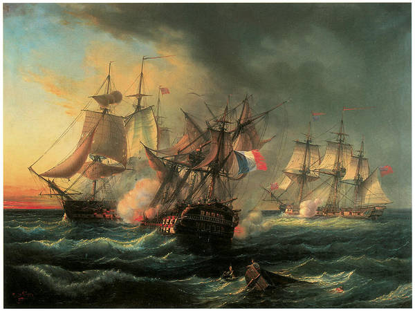 Leopold Le Guen Poster featuring the painting Naval Combat Between The Rights Of Man And The English Vessel Indefatigable And The Frigate Amazon by Leopold Le Guen