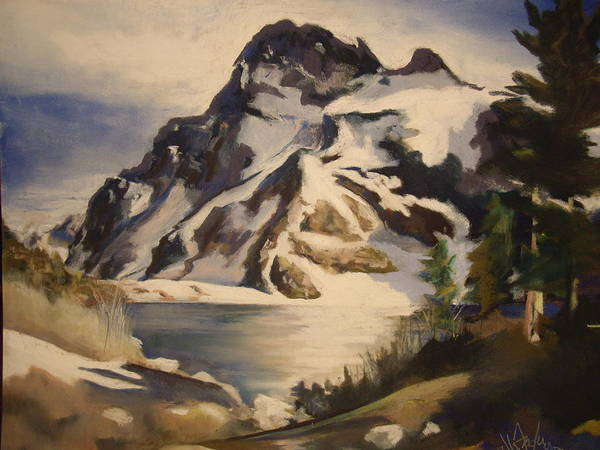 Mountain Poster featuring the painting Sawtooth Mountain Lake by Debbie Anderson