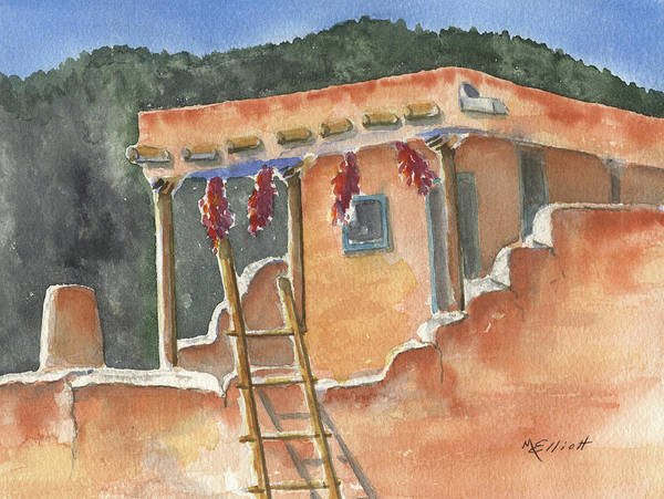 Adobe Poster featuring the painting Southwest Adobe by Marsha Elliott