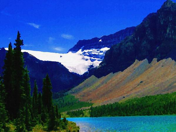 Scenic Poster featuring the photograph Summer Glacier Over Mountain Lake by Greg Hammond