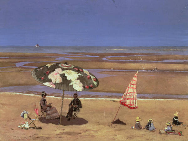 Bay Poster featuring the painting The Beach by Etienne Moreau Nelaton
