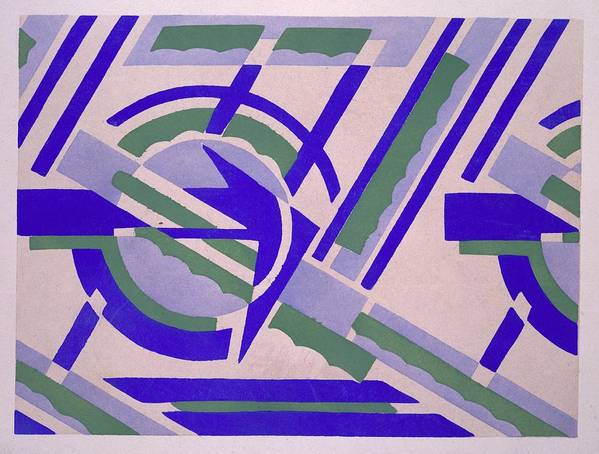 Constructivist Poster featuring the tapestry - textile Design From Nouvelles Compositions Decoratives by Serge Gladky