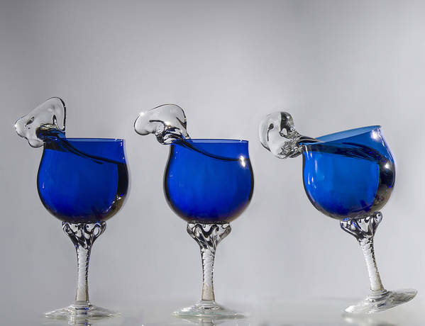 Blue Wine Glasses Poster featuring the photograph Cheers by Paul Geilfuss