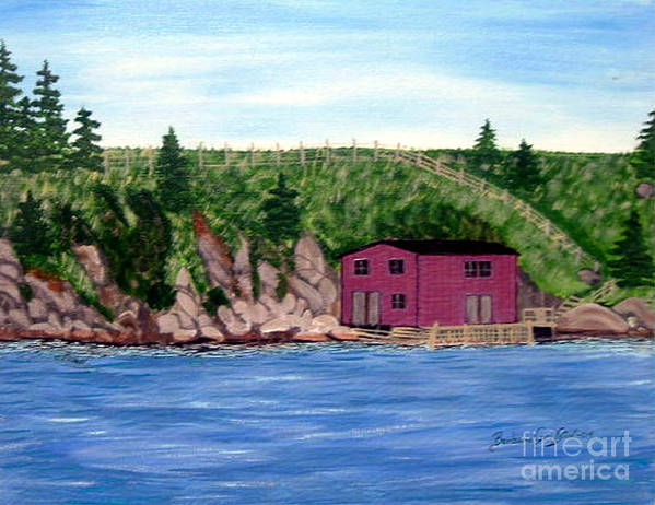 Fishing Stage Poster featuring the painting Fishing Gear Stage by Barbara Griffin