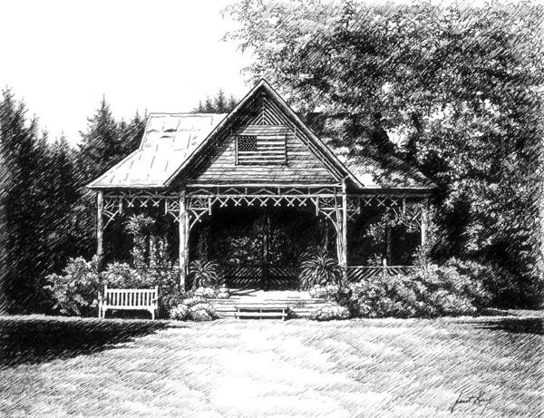 Pen And Ink Drawing Poster featuring the drawing Lawn Chair Theater In Leiper's Fork by Janet King