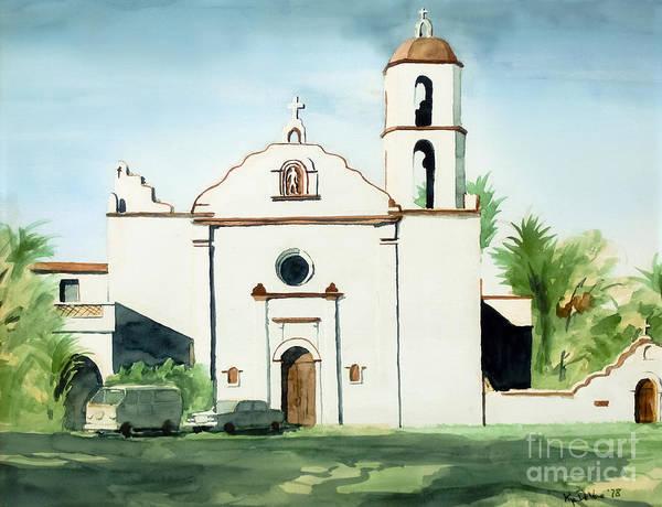 Mission San Luis Rey Colorful Ii Poster featuring the painting Mission San Luis Rey Colorful II by Kip DeVore