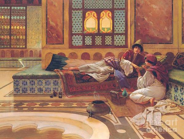 Manicure; Beauty; Spa; Treatment; Pampering; Leisure; Grooming; Female; Interior; Bath; Reclining; Nails; Nail Care; Exotic; Orientalist; Oriental; Tiles; Tiled; Stained Glass; Luxury; Opluent; Concubine; Odalisque; Harem; Relaxation; Manicurist; Beautician; Reclining Poster featuring the painting The Manicure by Rudolphe Ernst