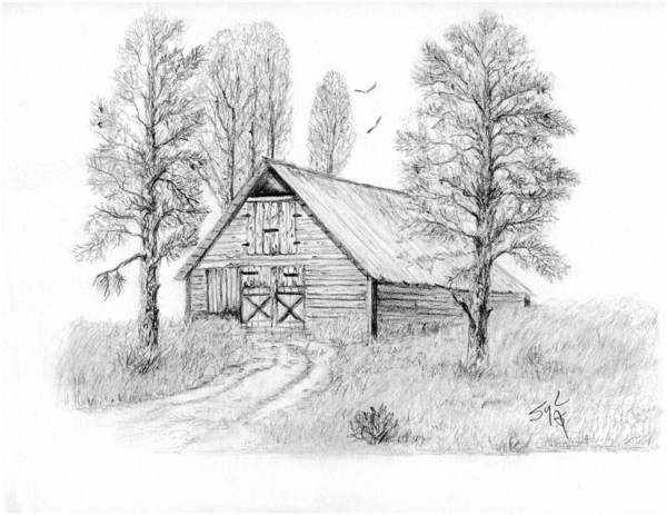 Country Poster featuring the drawing The Old Country Barn by Syl Lobato