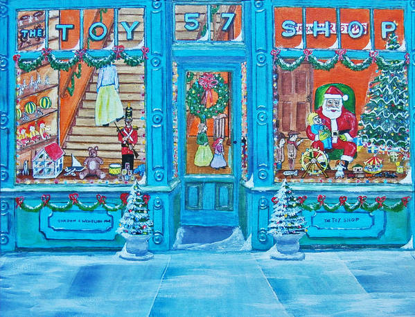 Santa Claus Poster featuring the painting Visit To The Toy Shop Santa by Gordon Wendling