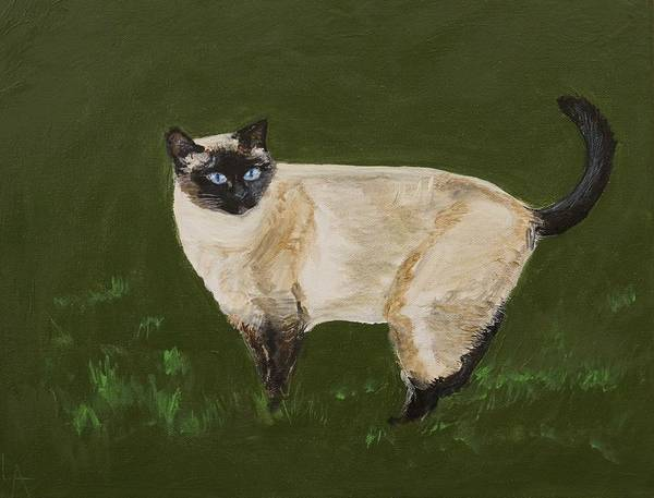 Siamese Painting Poster featuring the painting Sweetest Siamese by Leslie Allen