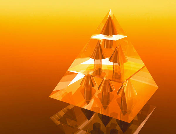 Hierarchy Poster featuring the photograph Abstract Computer Artwork Of A Pyramid Of Arrows by Laguna Design