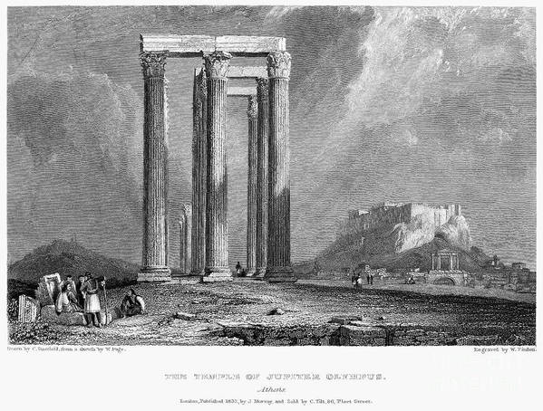 1832 Poster featuring the photograph Athens: Olympian Zeus by Granger