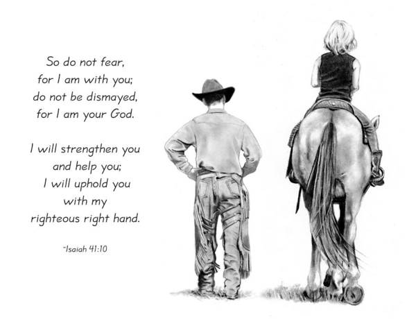 Cowboy Poster featuring the drawing Cowboy And Rider With Bible Verse by Joyce Geleynse