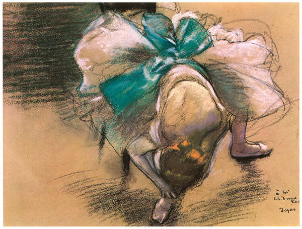 Dancer Tying Her Shoe Ribbons Poster featuring the pastel Dancer Tying Her Shoe Ribbons by Edgar Degas