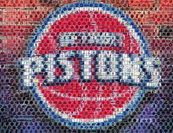 Detroit Pistons Poster featuring the mixed media Detroit Pistons Mosaic by Paul Van Scott