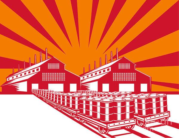Factory Poster featuring the digital art Factory Building Oil Drum Barrel Retro by Aloysius Patrimonio