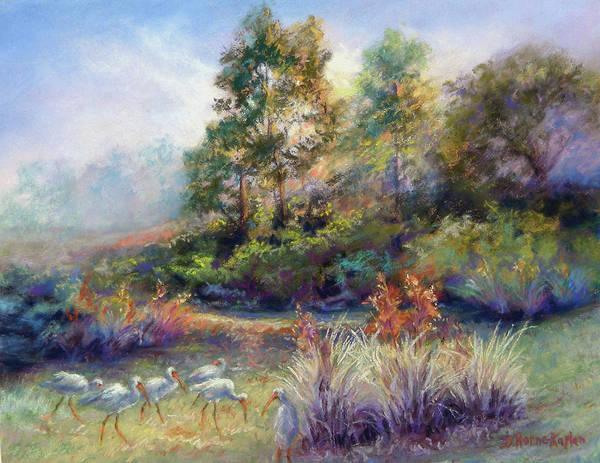 Florida Landscape Poster featuring the pastel Florida Ibis Landscape by Denise Horne-Kaplan