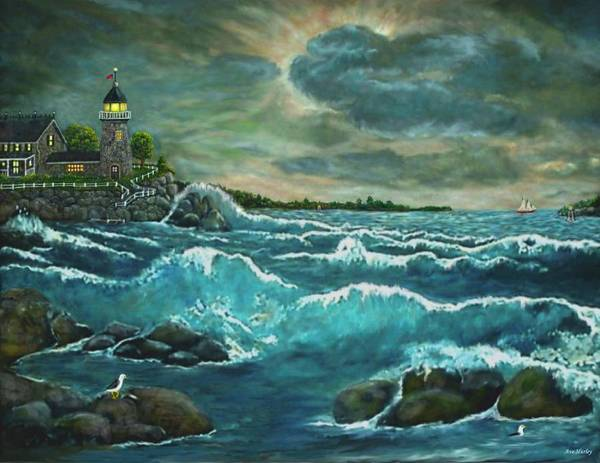 Art Poster featuring the painting Hobson's Lighthouse by Ave Hurley