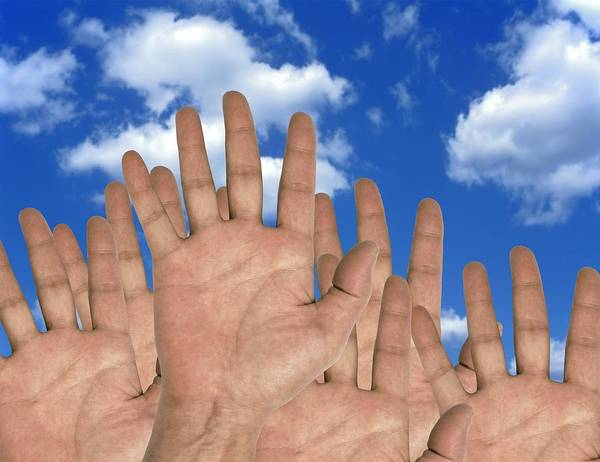 Human Poster featuring the photograph Human Hands And The Sky, Conceptual Image by Victor De Schwanberg