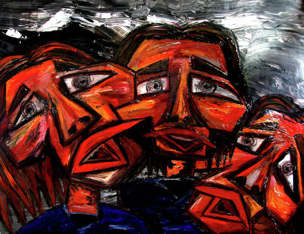 Faces Poster featuring the painting Is 3 Really A Crowd by Karen Elzinga