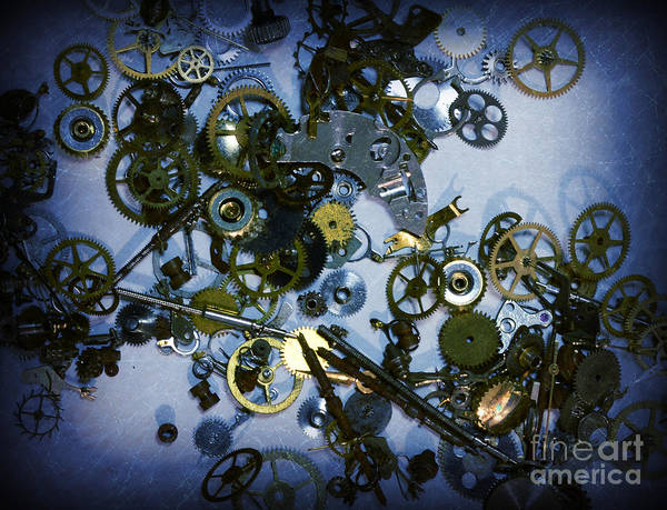 Steampunk Poster featuring the photograph Steampunk Gears - Time Destroyed by Paul Ward
